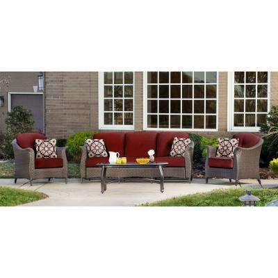 Hanover Gramercy 4-Piece Steel Patio Conversation Set with Crimson Red Cushions
