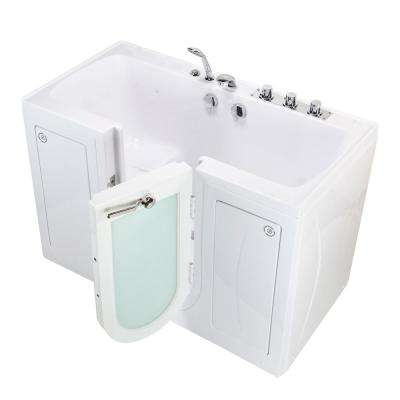 Tub4Two 60 in. Walk-In MicroBubble Air Bathtub in White, RH Outward Door, Heated Seat, Thermostatic Faucet, Dual Drain