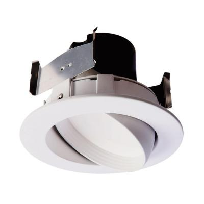 4 in. 2700K White Integrated LED Recessed Ceiling Light Fixture Adjustable Gimbal Retrofit Trim Warm White