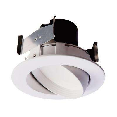 RA 4 in. Matte White Integrated LED Recessed Adjustable Gimbal Downlight Retrofit Trim 90 CRI, 2700K Warm White