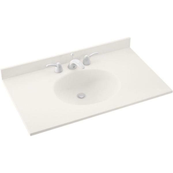 Ellipse 43 in. W x 22 in. D Solid Surface Vanity Top with Sink in Bisque