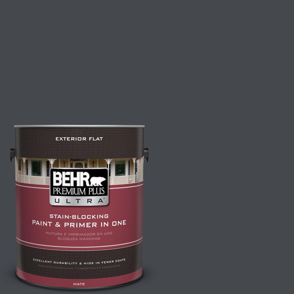 BEHR Premium Plus Ultra 1-gal. #N490-7 Ink Black Flat Exterior Paint