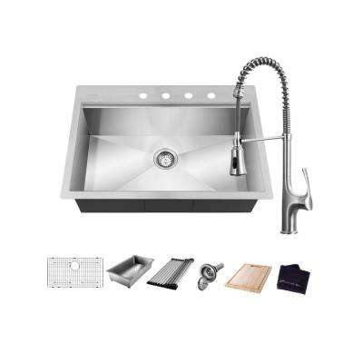 All-in-One Drop-In Stainless Steel 32 in. 4-Hole Single Bowl Kitchen Workstation Sink with Faucet and Accessories
