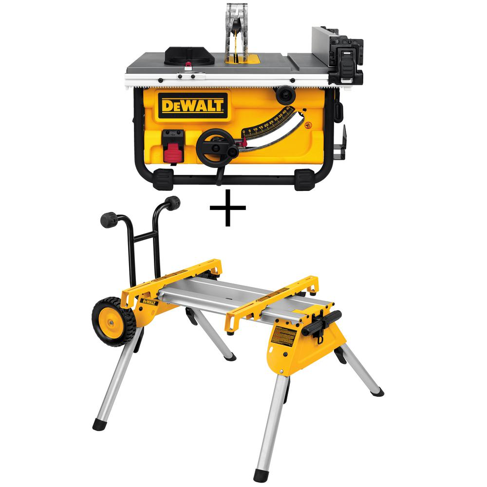 Dewalt 15 Amp 10 In Compact Job Site Table Saw With Site Pro Modular Guarding System With Bonus Rolling Table Saw Stand