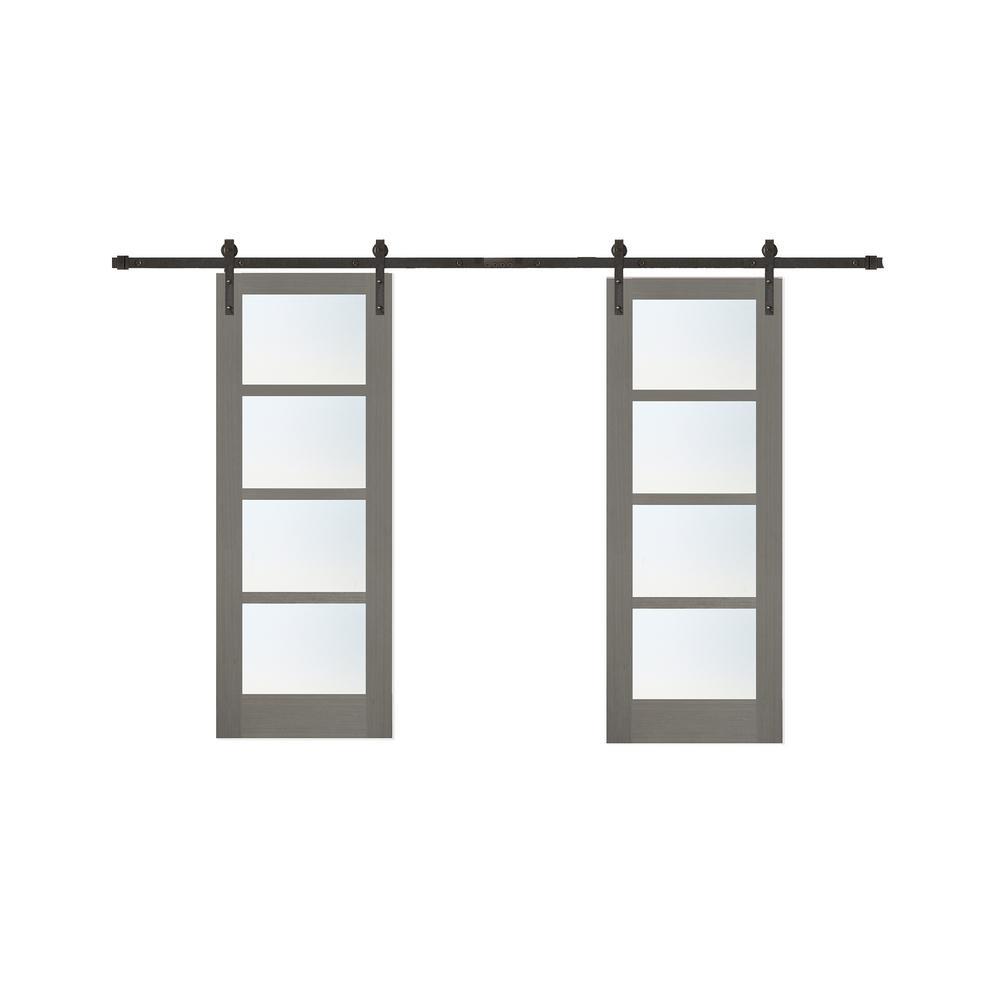 60 in. x 84 in. Driftwood 4 Lite Clear Coat Finish Interior Barn Door with Bronze Sliding Door Hardware Kit