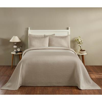 Sophia Collection in Diamond Design Tan King Cotton Blend Matelasse Weave Bedspread