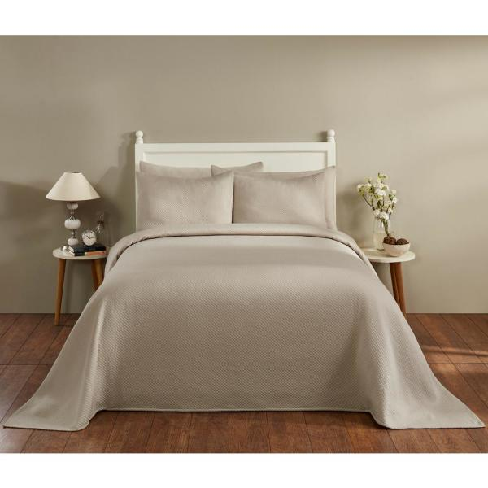 Sophia Collection in Diamond Design Tan King Cotton Blend Matelasse Weave Bedspread