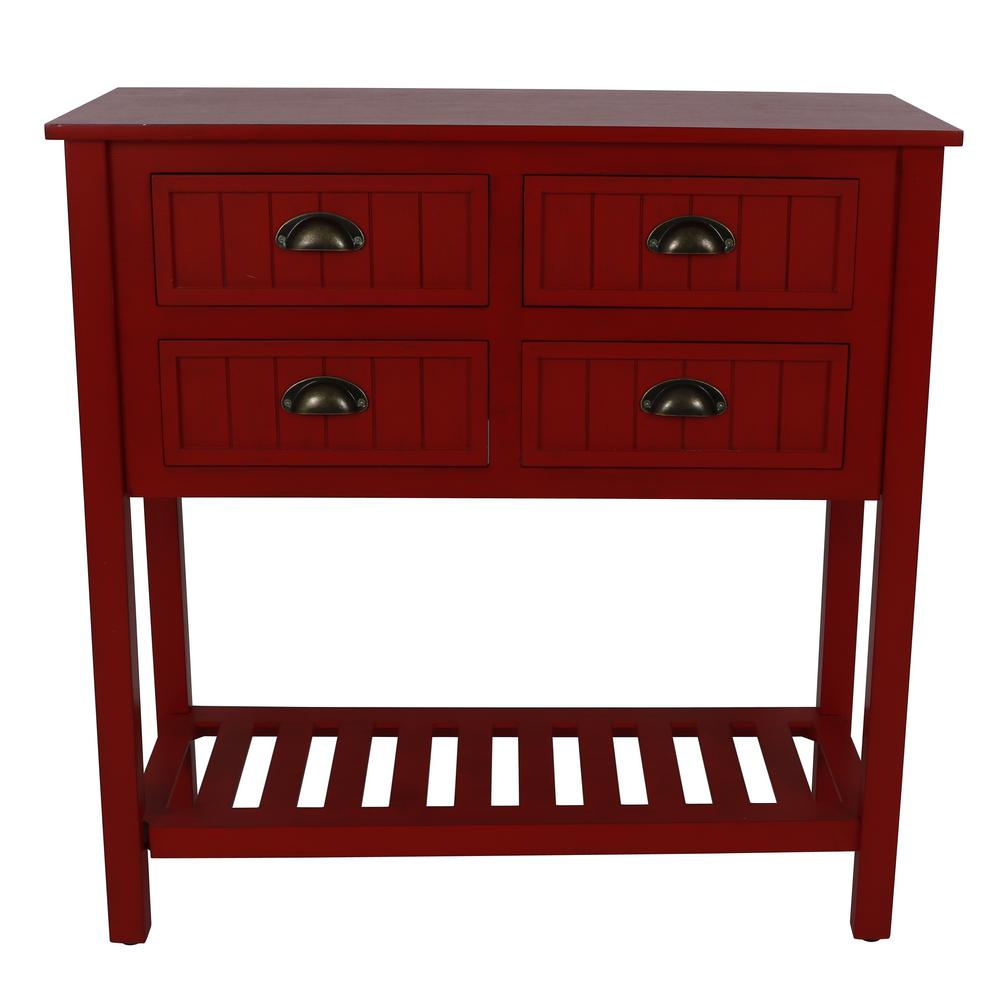 Decor Therapy Bailey Bead Antique Red Console Table - Decor Therapy Bailey Bead Antique Red Console Table-FR8684 - The
