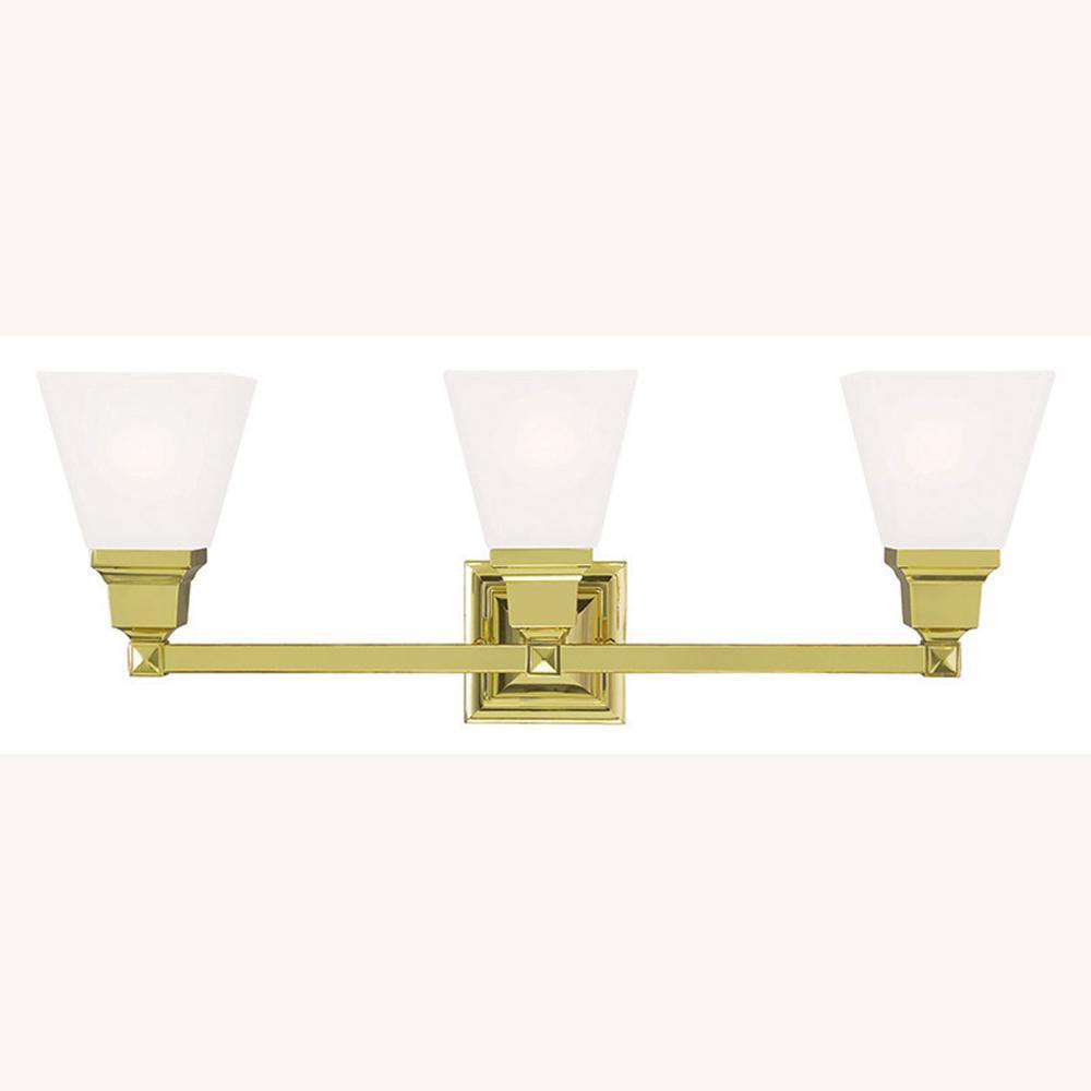Mission 3-Light Polished Brass Bath Light