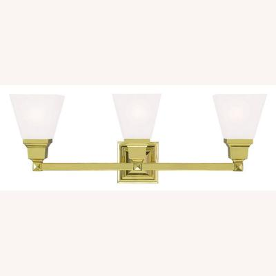 Mission 3-Light Polished Brass Bath Light