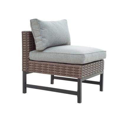 Wicker Armless Middle Outdoor Sectional Chair with Grey Cushion