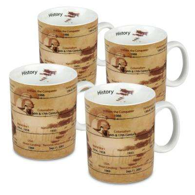 Konitz 4-Piece Mug of Knowledge History Porcelain Mug Set