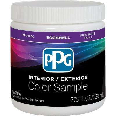 8 oz. Pure White/Base 1 Eggshell Interior Paint Sample with Primer
