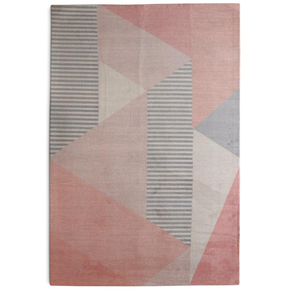 Shop Audrey Gray Mid Century Modern Area Rug: Rugsmith Memphis Mid-Century Modern Geometric Blush 5 Ft