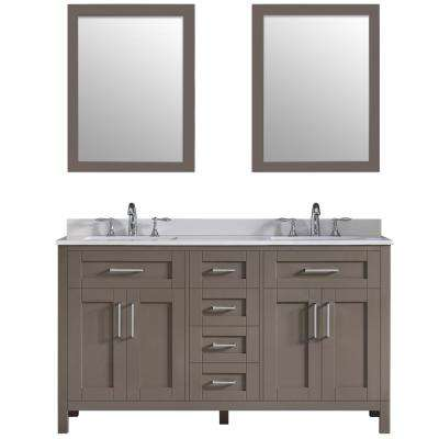 Tahoe 60 in. W x 21 in. D Bath Vanity in Saddle Brown with Quartz Vanity Top in White with White Basins and Mirrors