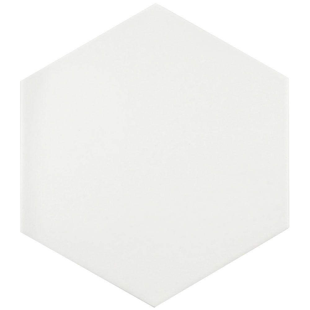 Merola Tile Textile Hex White 8-5/8 in. x 9-7/8 in. Porcelain Floor and Wall Tile (11.19 sq. ft. / case)