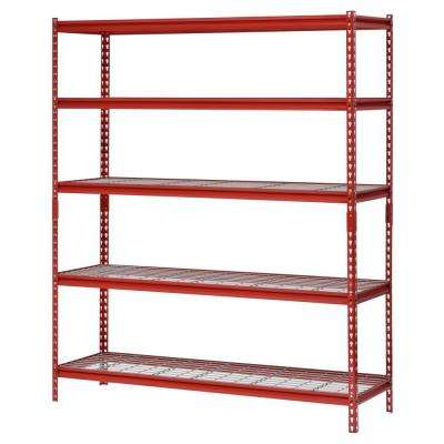 60 in. W x 18 in. D x 72 in. H Red 5 Shelf Z-Beam Boltless Steel Shelving Unit