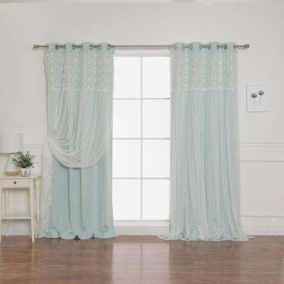 Mint 84 in. L Irene Lace Overlay Blackout Curtain Panel (2-Pack)