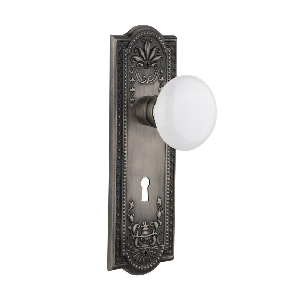 Nostalgic Warehouse Meadows Plate Interior Mortise White Porcelain Door Knob  In Antique Pewter