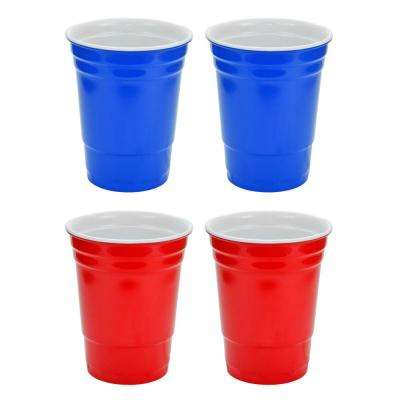 16 oz. Red and Blue Hard Plastic Cup (4-Pack)