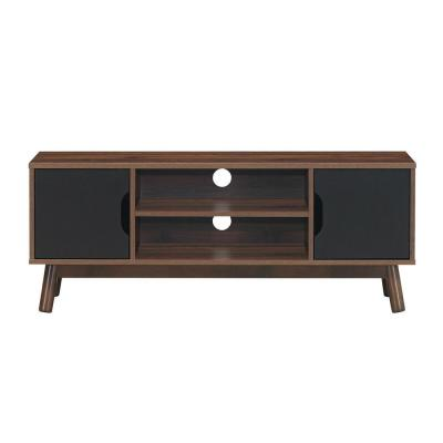 50 in. Black TV Stand Modern Wood Storage Console with 2-Doors