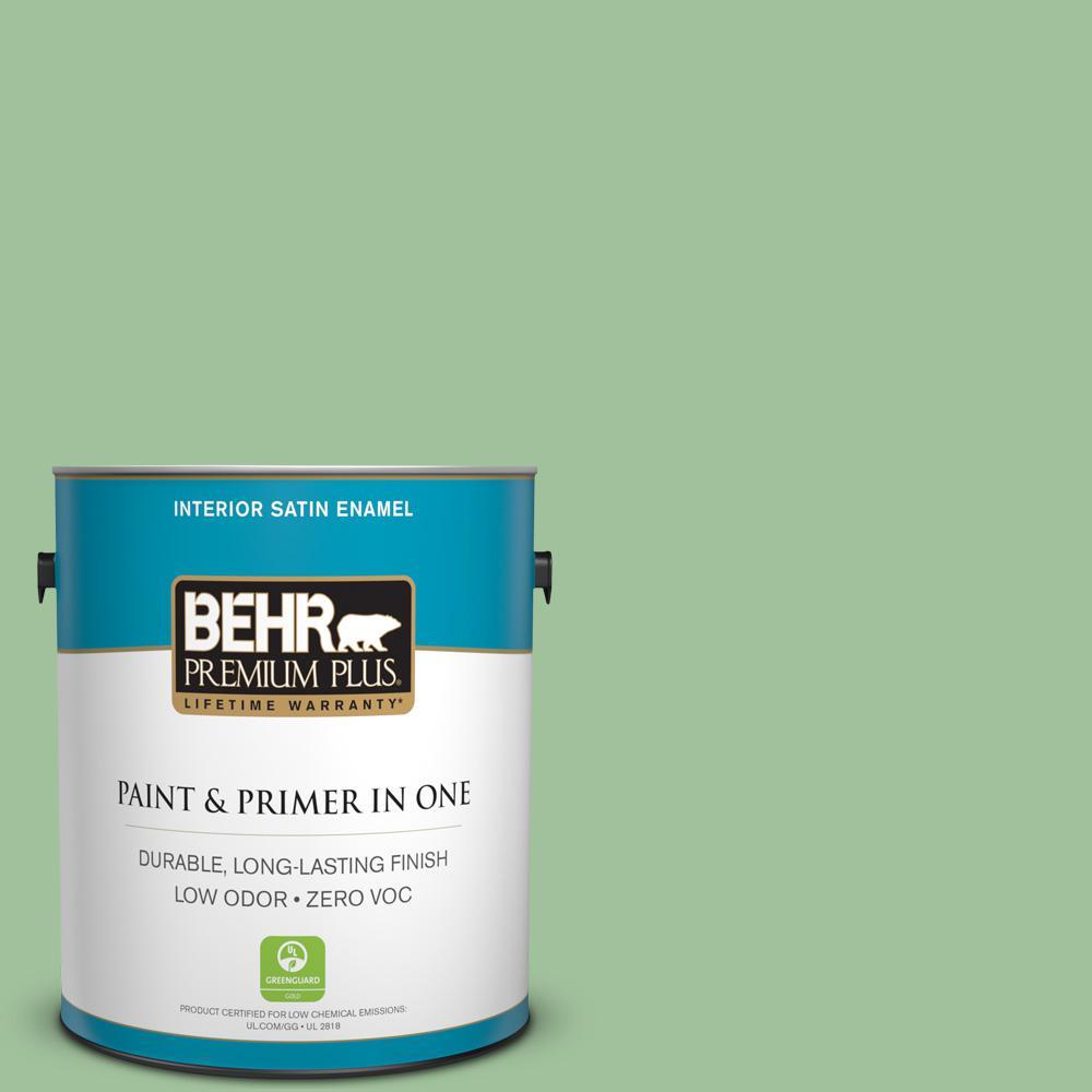 BEHR Premium Plus 1-gal. #BIC-25 Spring Sprig Satin Enamel Interior Paint
