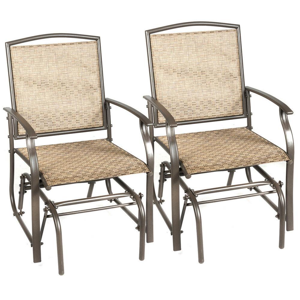 Brown Metal Outdoor Rocking Chair Garden Swing Single Glider Chair (Set of 2)