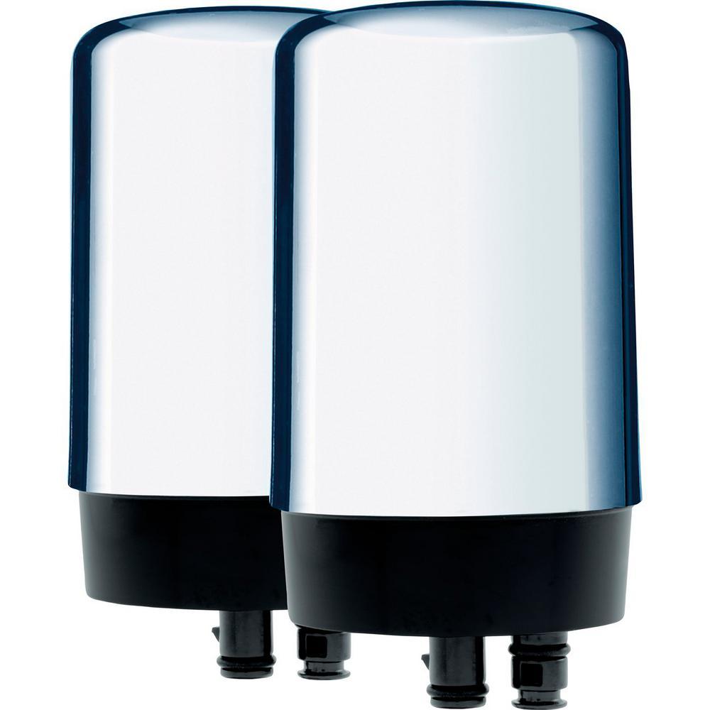 Brita Chrome Faucet Replacement Water Filter Cartridge 2 Pack