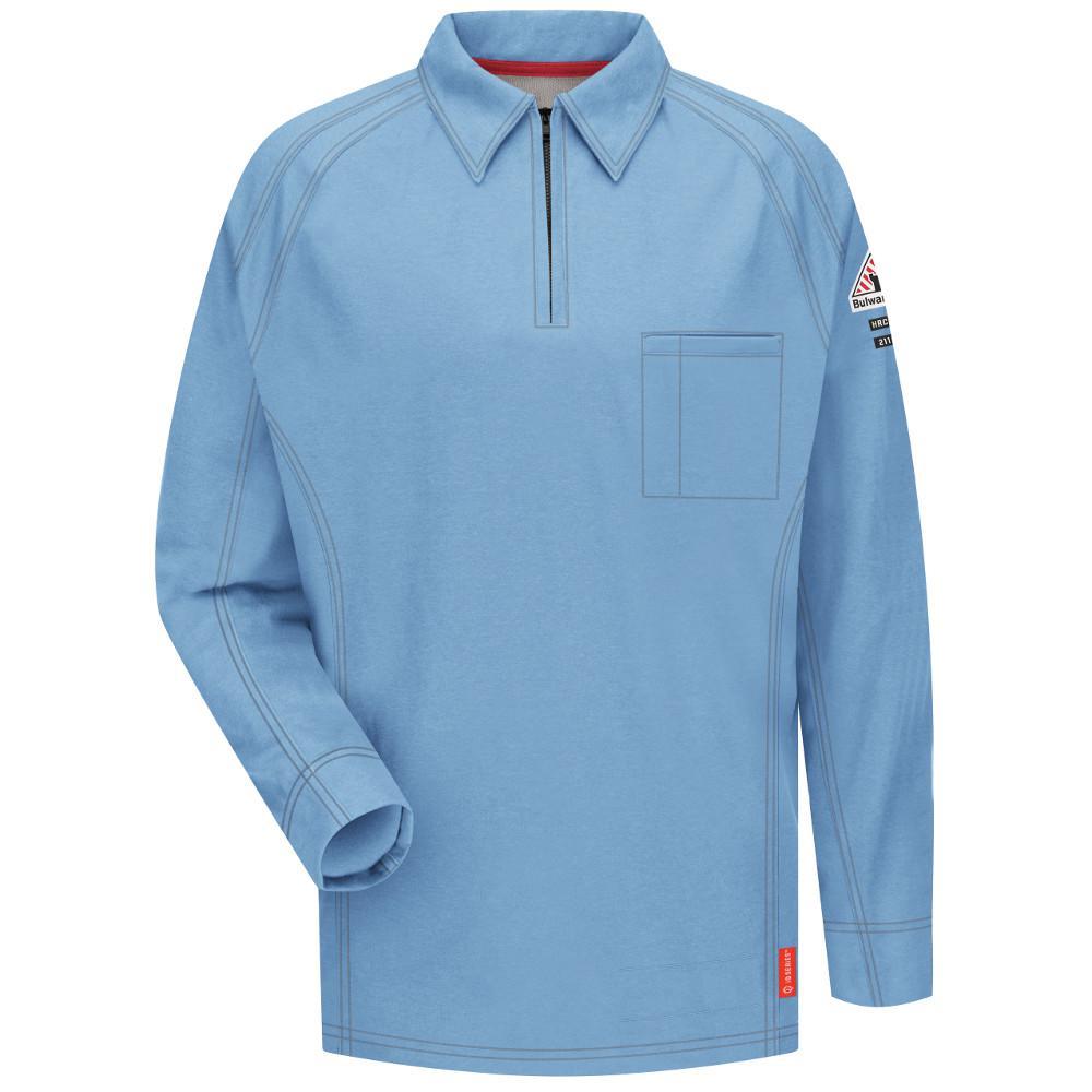 Bulwark Iq Mens Large Tall Blue Long Sleeve Polo Qt12bl Ln L