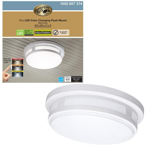 11 in. 1-Light Round White LED Indoor Outdoor Flush Mount Porch Ceiling Light 830 Lumens 3 Color Temp Changes Wet Rated