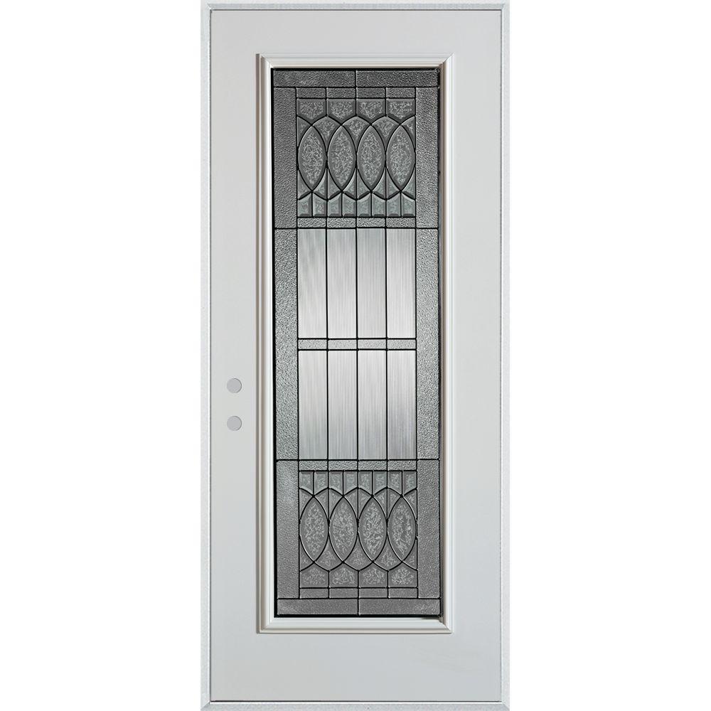 Stanley Doors 37.375 in. x 82.375 in. Nightingale Patina Full Lite Painted White Right-Hand Inswing Steel Prehung Front Door