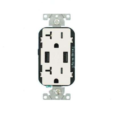 Decora 20 Amp 125-Volt Combination Duplex Outlet and USB Outlet, White