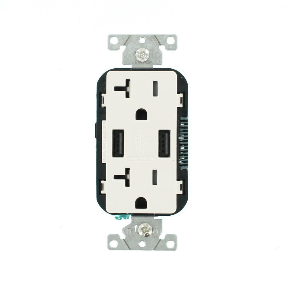 Decora 20 Amp 125-Volt Combination Duplex Outlet and USB Outlet, White