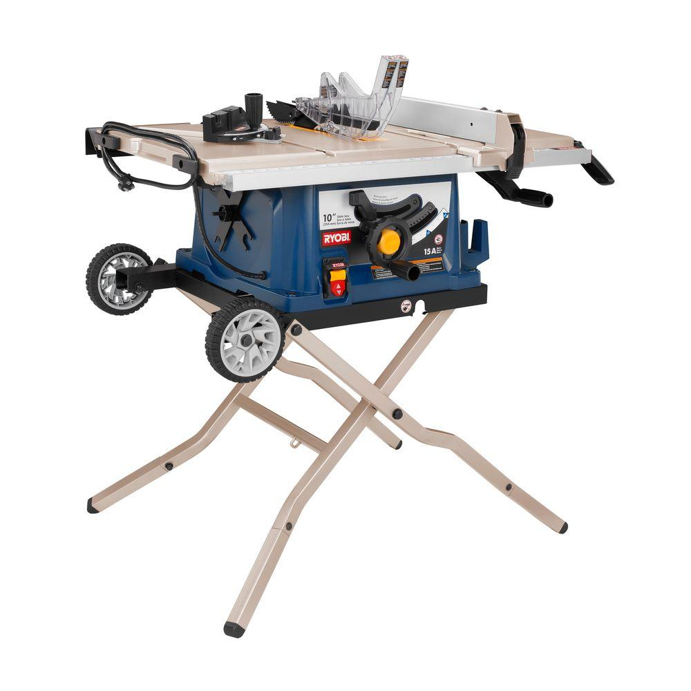 Portable Flooring Saw : Ryobi reconditioned in table saw with wheel stand
