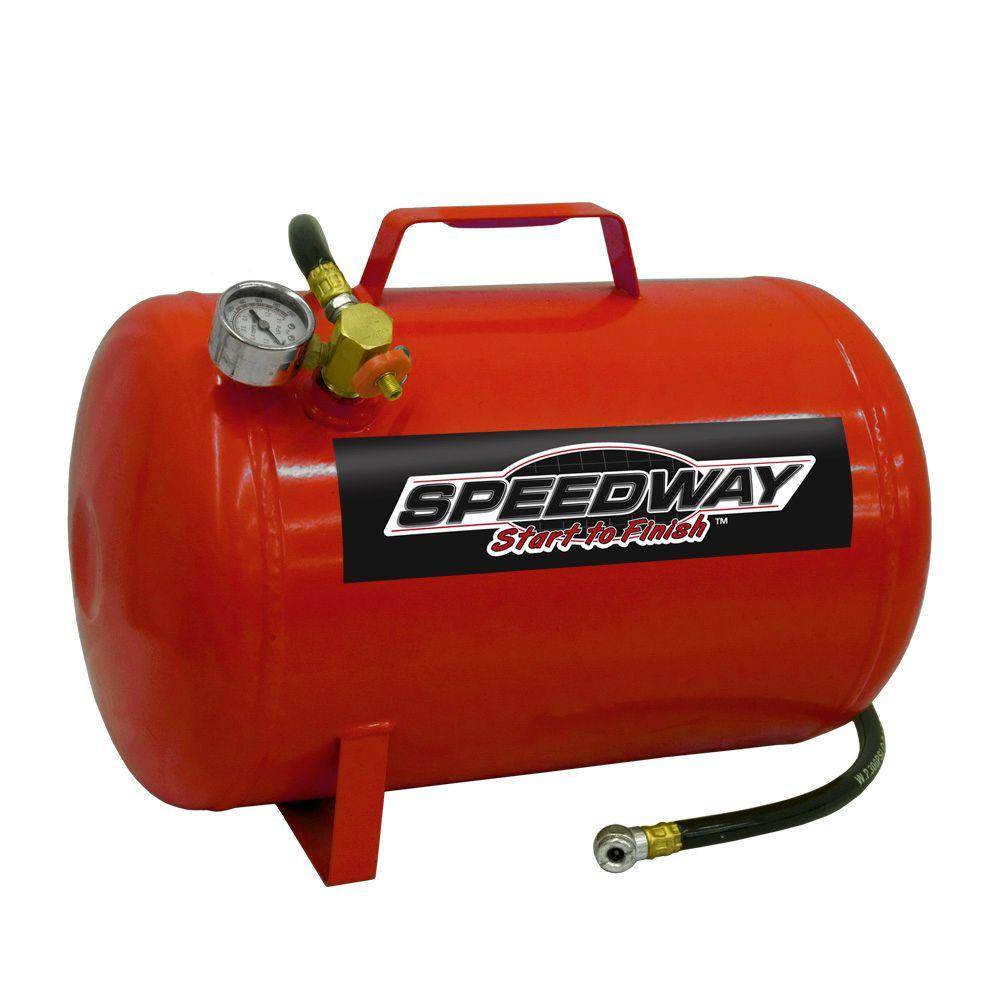 TWIN TANK 2 GALLON AIR COMPRESSOR WITH BUILT IN HOSE REEL SPEEDWAY START TO FINISH