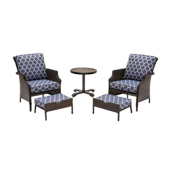 Grayson Brown 5-Piece Wicker Outdoor Patio Small Space Seating Set with CushionGuard Midnight Trellis Navy Blue Cushions