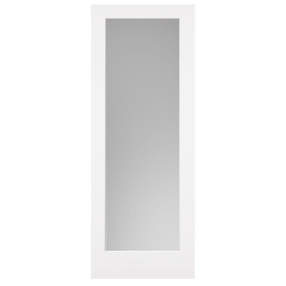 30 in. x 84 in. Primed White 1-Lite Frost Solid Wood