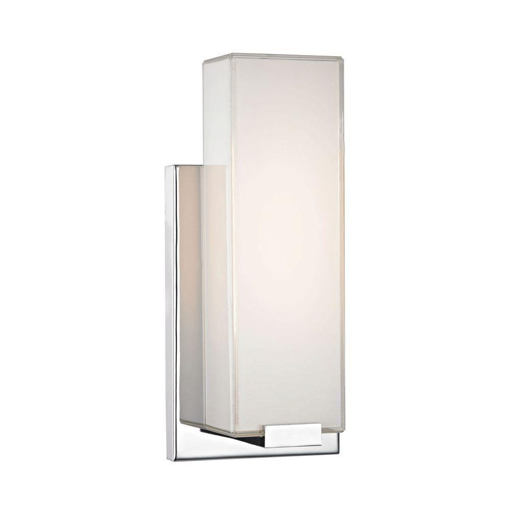 Titan lighting midtown 1 light chrome and paint white glass wall sconce