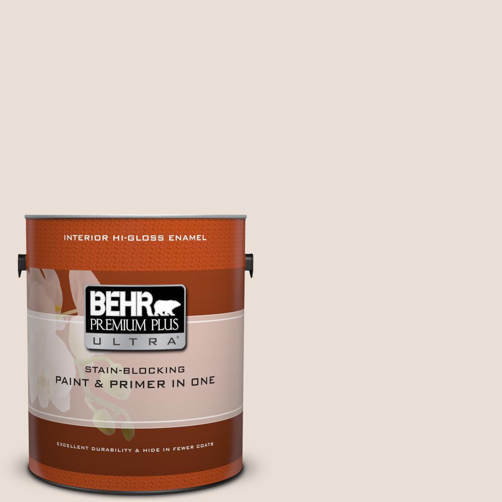 1 gal. #N190-1 Smokey Cream Hi-Gloss Enamel Interior Paint