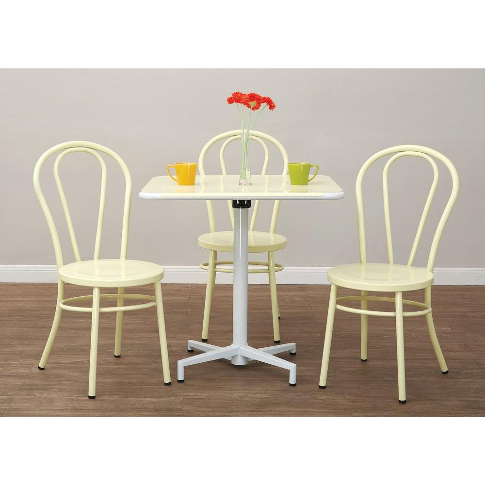 OSPdesigns Odessa Pastel Lemon Metal Dining Chair Set of 2