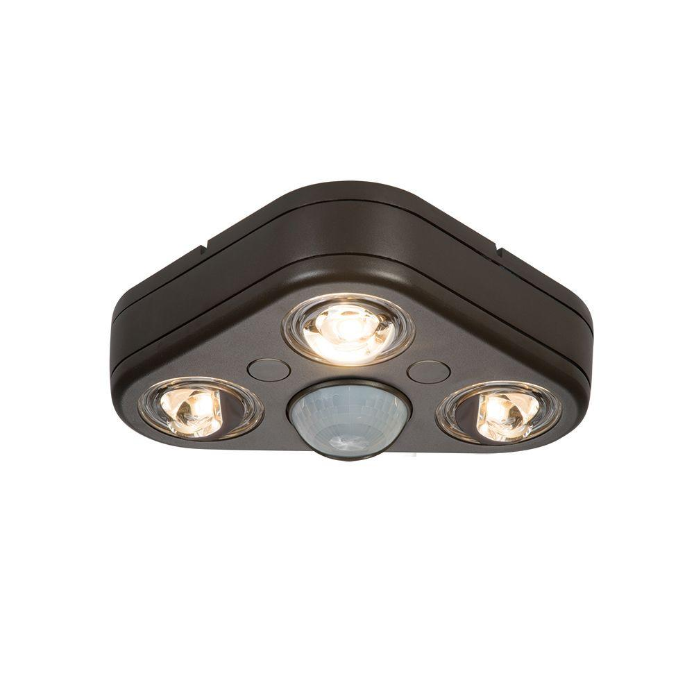 Revolve 270-Degree Bronze Motion Activated Outdoor Integrated LED Triple Head