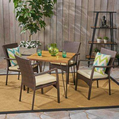 Tatum Teak Brown 5-Piece Wood and Wicker Outdoor Dining Set with Cream Cushions
