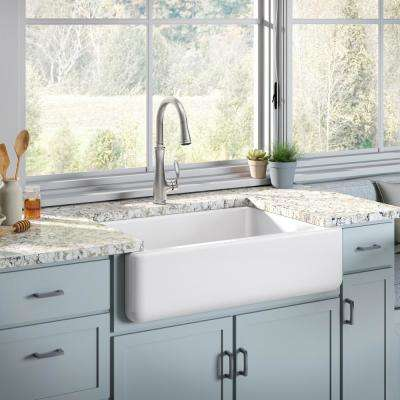 White Haven Undermount Cast Iron 32.6875 in. Single Bowl Kitchen Sink in White with Bellera Faucet