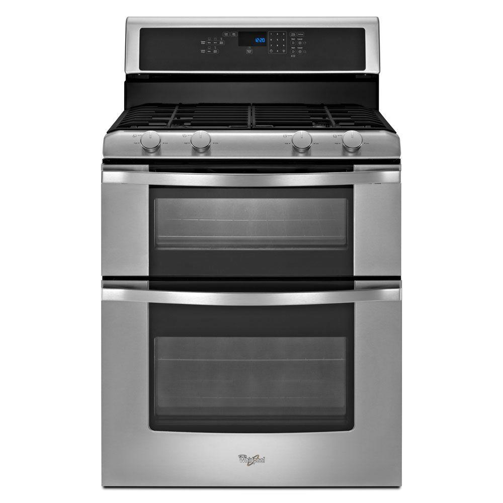 Whirlpool 6.0 cu. ft. Double Oven Gas Range with Self-Cleaning Oven in Stainless Steel