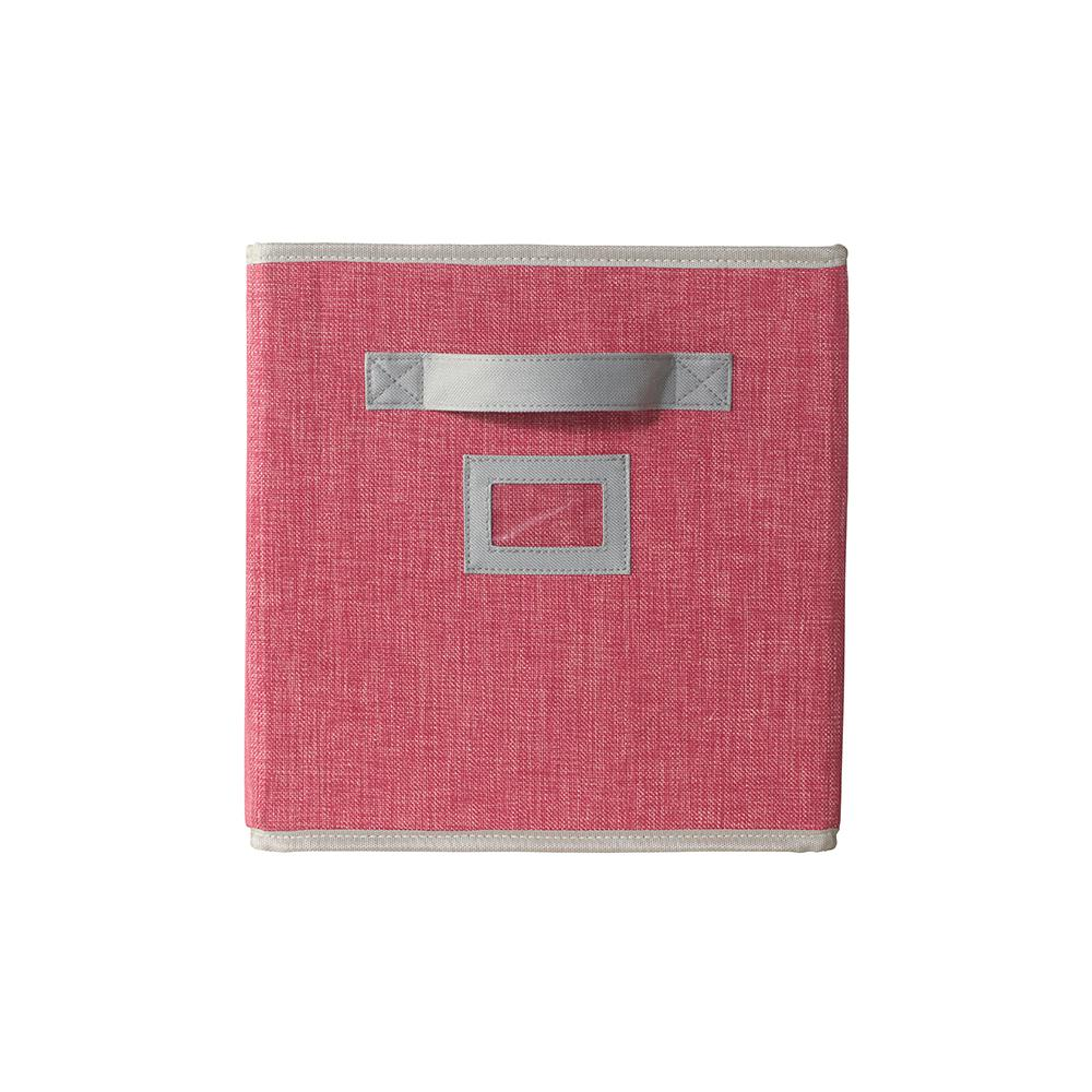 Home Decorators Collection 10.5 in. x 11 in. Fabric Glimmer Storage Bin in Pink