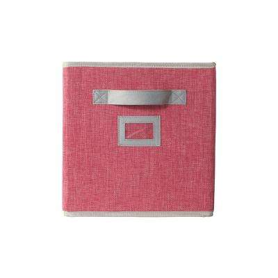 10.5 in. x 11 in. Fabric Glimmer Storage Bin in Pink