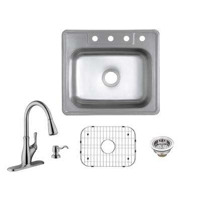All-in-One Drop-In 20-Gauge Stainless Steel 25 in. 4-Hole Single Bowl Kitchen Sink with Pull-Out Kitchen Faucet