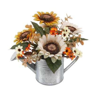 9.25 in. Fall Harvest Artificial Sunflowers and Pumpkins in Galvanized Watering Can