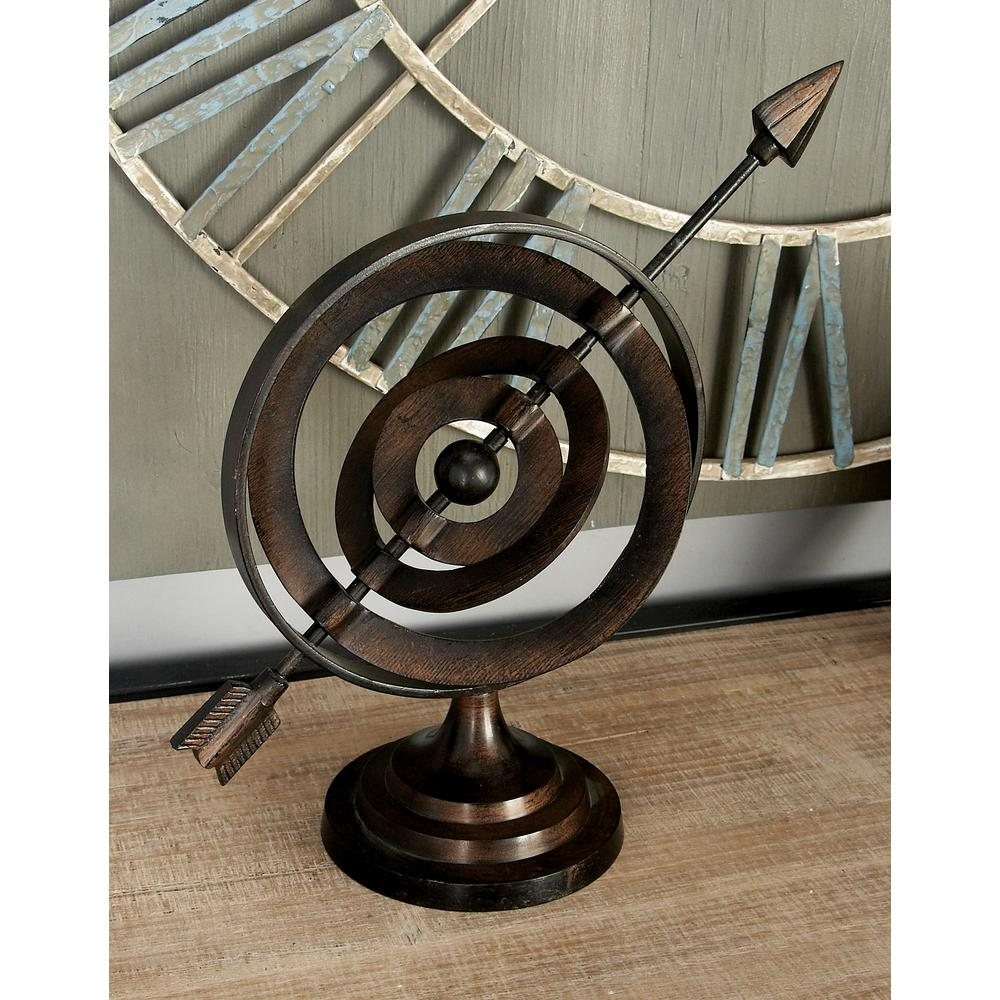 13 in. Armillary Sphere Decor in Chocolate Brown, Brown/Tan