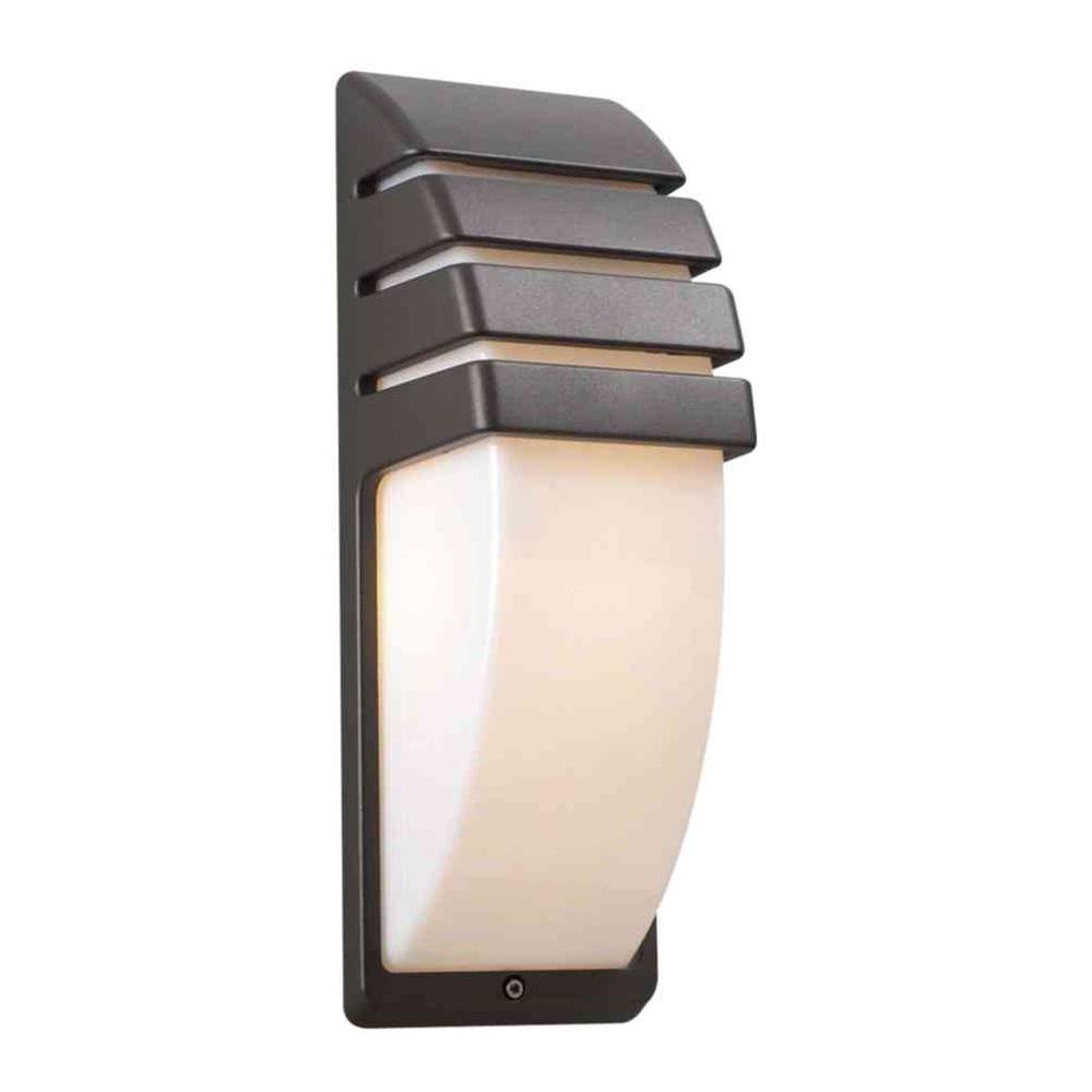 1-Light Bronze Outdoor Sconce with Matte Opal Glass